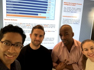 Our 4-person, high EQ team scored in the 99.89% of IQ tests with a score of 146. Pictured above from left: Arshad, Kevin, Jason and Lyndsay.